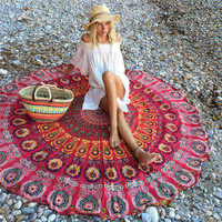 Round Flowers Yoga Blankets Chiffon Multi-Function Also Used as Wall Hanging Tablecloth Couch Cover Leisure Retro Beach Towel