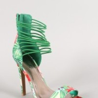 Qupid Floral Strappy Stiletto Sandal