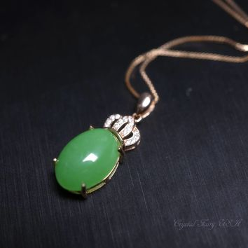 Emerald Jade Necklace Rose Gold P Sterling Silver Green Jade Pendant -  Tiny  Green Jade Necklace