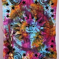 1 X Psychedelic Celestial Sun Moon Stars Tie Dye Tapestry, Hippie Hippy Wall Hanging, Indian Tapestry, Sun-moon Tapestry, Celestial Tapestry