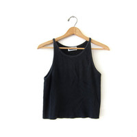 vintage cropped black tank top. ribbed tank top. sporty tank. simple basic shirt.