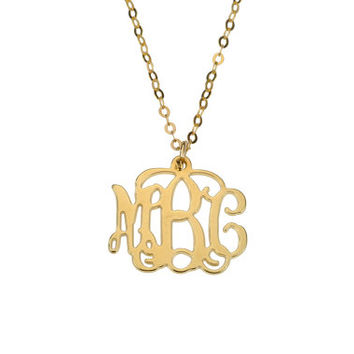 Small 18k Yellow Gold-Plated over Silver Monogram Necklace