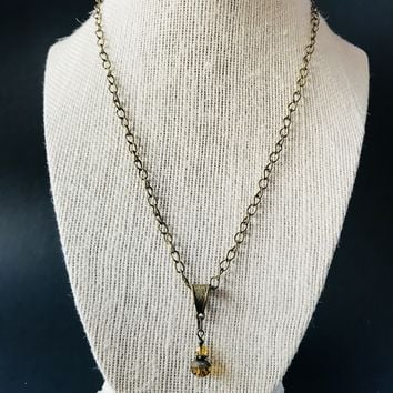 Brass brown necklace