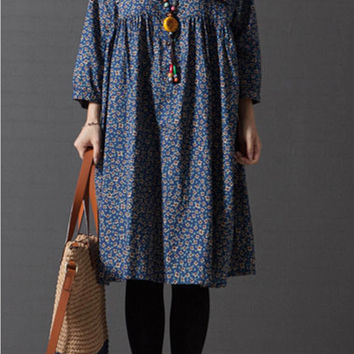 Vintage loose plus size long sleeve cotton floral long shirt dress (ESR81)