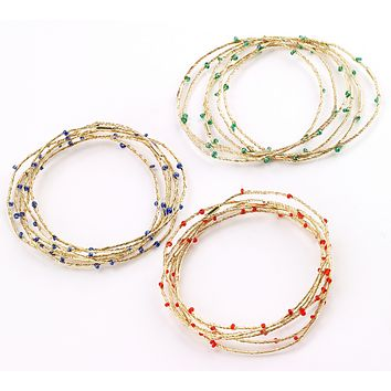 Beaded Wire Bangle Sets