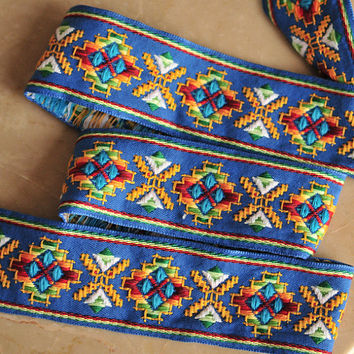 Jacquard Trim Ribbon Blue Pattern Folk Country- 2 Yards and 30 Inches