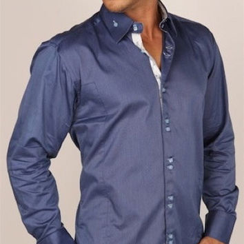 Preview Mens Blue Metal Dress Shirt w/ White Pattern Trim