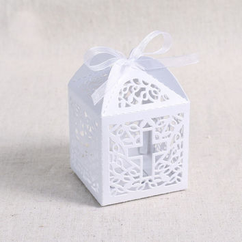 50 Pcs Ribbon Paper Laser Cut Out Cross Gift Candy Box Wedding Party Favor Boxes