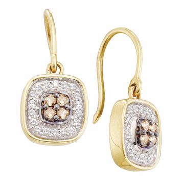 14kt Yellow Gold Womens Round Cognac-brown Color Enhanced Diamond Square Cluster Dangle Earrings 1/3 Cttw