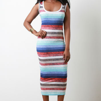 Multi-Color Stripe Bodycon Midi Dress | UrbanOG