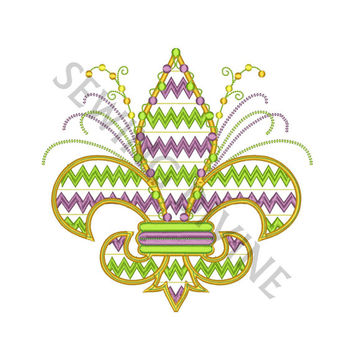 CHEVRON Fleur de lis Embroidery Design MARDI GRAS 4x4 5x7 8x10 Inch Sizes 8 Formats Instant Download