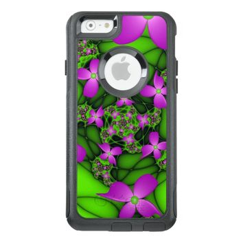 Modern Abstract Neon Pink Green Fractal Flowers OtterBox iPhone 6/6s Case