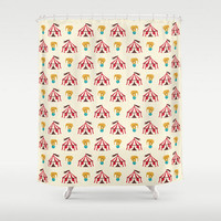 Kids Shower Curtain Circus Elephant and Tents Vintage Baby Children Child Bath Room Home Decor Off White Cream and Red