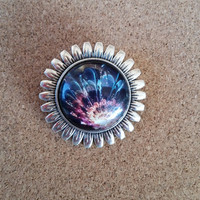 Flower Print Cabochon Round Silver Toned Brooch