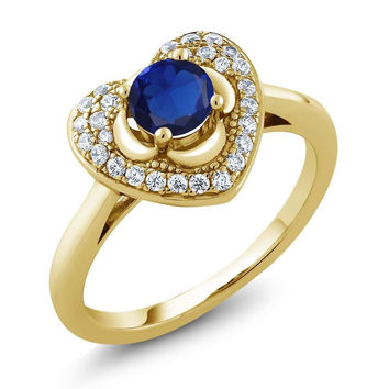 0.87 Ct Round Blue Simulated Sapphire 18K Yellow Gold Plated Silver Heart Ring
