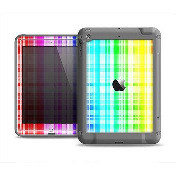 The Bright Rainbow Plaid Pattern Apple iPad Mini LifeProof Fre Case Skin Set