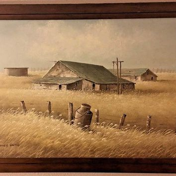 Large James Young Original Barn Oil Painting Wooden Frame Excellent Condition