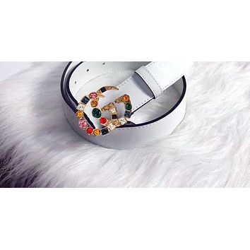 Gucci New Popular Women Multicolor Belt Diamond Crystal Buckle Belt Multicolor Agate Leather Belt White I-RSG-PJC