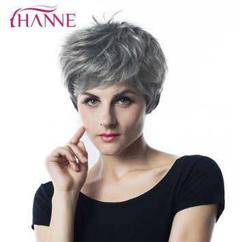 DCCKH0D HANNE Short Haircut 1B Light Grey Mixed Color HighTemperature Fiber Synthetic Hair Wig Natural Wave Wigs For Black African Women