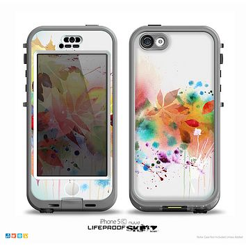 The Neon Colored Watercolor Branch Skin for the iPhone 5c nüüd LifeProof Case