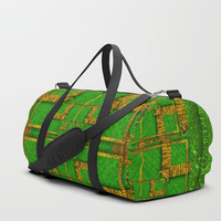 golden green and  sunshine pop-art Duffle Bag by Pepita Selles