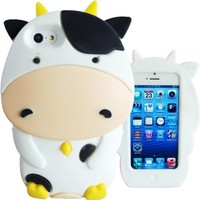 WwWSuppliers Adorable 3D White Pet Dairy Cow Cattle Case for Apple iPhone 5 & 5C Soft Silicone Cute Cover + Front/Back Screen Protectors