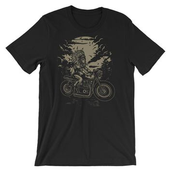 Indian Chief on a Motorcycle #2 Short-Sleeve Unisex T-Shirt