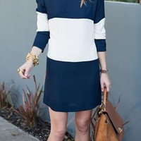 Navy Blue Color Block Round Neck Elegant Mini Dress