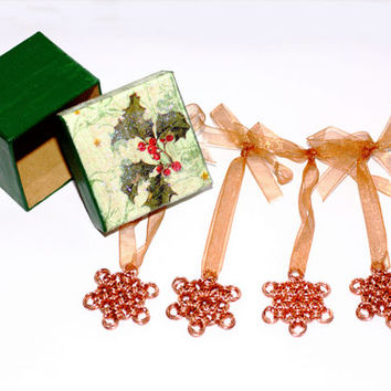 Snowflake Yule tree ornament, copper chainmaille, set of 4 - decoupage box, Japanese weave - unusual unique handmade Christmas holiday decor