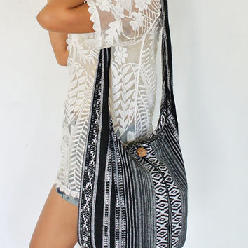 Black and White, Cotton Bag, Hand Woven, Aztec, Nepali, Messenger Bag,  Tribal Bag, Crossbody, Shoulder, Yam Bag, Hippie Bag, Sling Bag