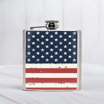 American flag Flask Alcohol gifts 21 Birthday Gift For Him Independence Day themed Flask Fourth of July Stainless Steel 6oz Liquor Hip Flask