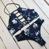 Fashion Flower Pattern Printed Bikini Set Women Swimwear