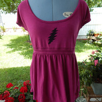 Upcycled Recycled Grateful Dead 13pt Lighting Bolt Magenta Shirt Size L Tank Top, ooak shirt, top,Baby Doll Shirt Upcycled Clothes