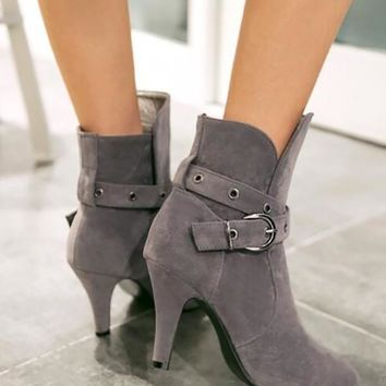 New Grey Point Toe Chunky Sequin Fashion Ankle Boots