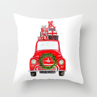 Red Christmas Car - white Throw Pillow by craftberrybush