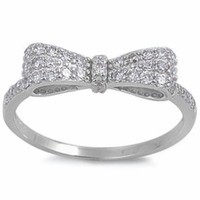 White Cz Bow Tie .925 Sterling Silver Ring Size 8