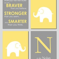 "Yellow and Gray Modern Nursery Set - Always Remember You are Braver - Initial/Monogram - Elephant Prints - Set of four 8""x10""s"
