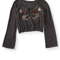 Long Sleeve Embroidered Floral Crop Top - Aeropostale