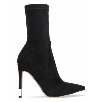 Cali Black Suede Gold Tip Stiletto Ankle Boots : Simmi Shoes
