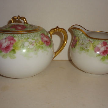 Over 100 Year Old Limoges Cream and Sugar Bowl. Absolute Mint Condition  c1908 Coronet Limoges France Mavaleix Studio Antique. Beyond Vintage