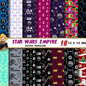 Star Wars Empire digital paper, Darth Vader,death star,stormtrooper, for party,cards, Scrapbooking Paper, star wars backgrounds, patterns
