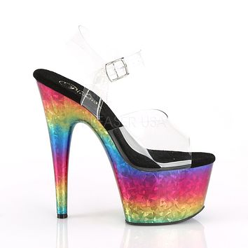 "Adore 708MRB Metallic Rainbow Platform 7"" High Heel Shoes"