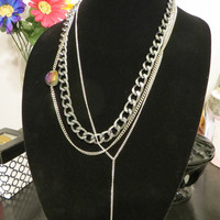 Thick Chunky Gunmetal Silver Chunky Chain Necklace - Long Chunky Layering Curb Chain Link Necklace