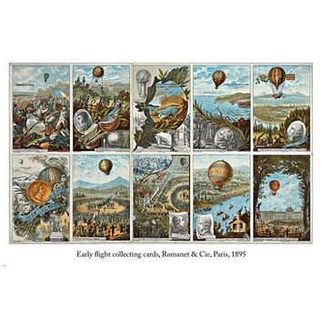 EARLY FLIGHT COLLECTING CARDS Vintage paris 1895 Poster 24X36 collectors!