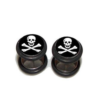 Jolly Roger FAKE Plugs Post Earrings - 1 Pair - Made to Order