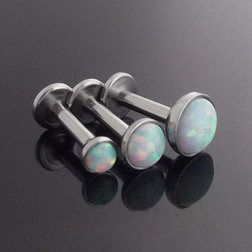 2016 White Fire Opal Triple Helix Earrings Studs Surgical Steel Helix Piercing Ear Cartilage Tragus Earrings Labret Body Jewelry