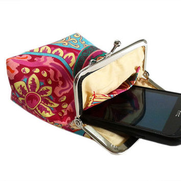 Smartphone Case - Fabric case with pocket inside - Cigarette Case Fabric - Pink, Red and Turquoise - 100% cotton - Silver Frame