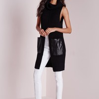 Missguided - Split Front Chunky Tunic Black