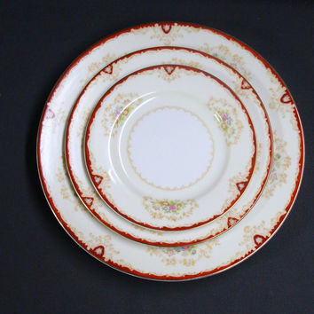 Sone China Occupied Japan Dinner Plate Salad Plate & Dessert Plate Red Edge Tan Scrolls Floral