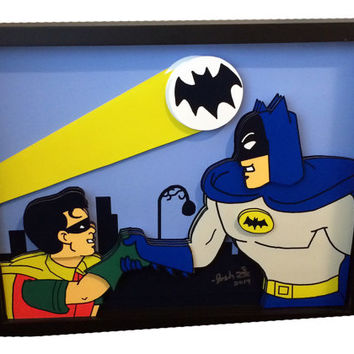 Batman and Robin 1966 TV Show Comic Movie Poster 3D Pop Art Print